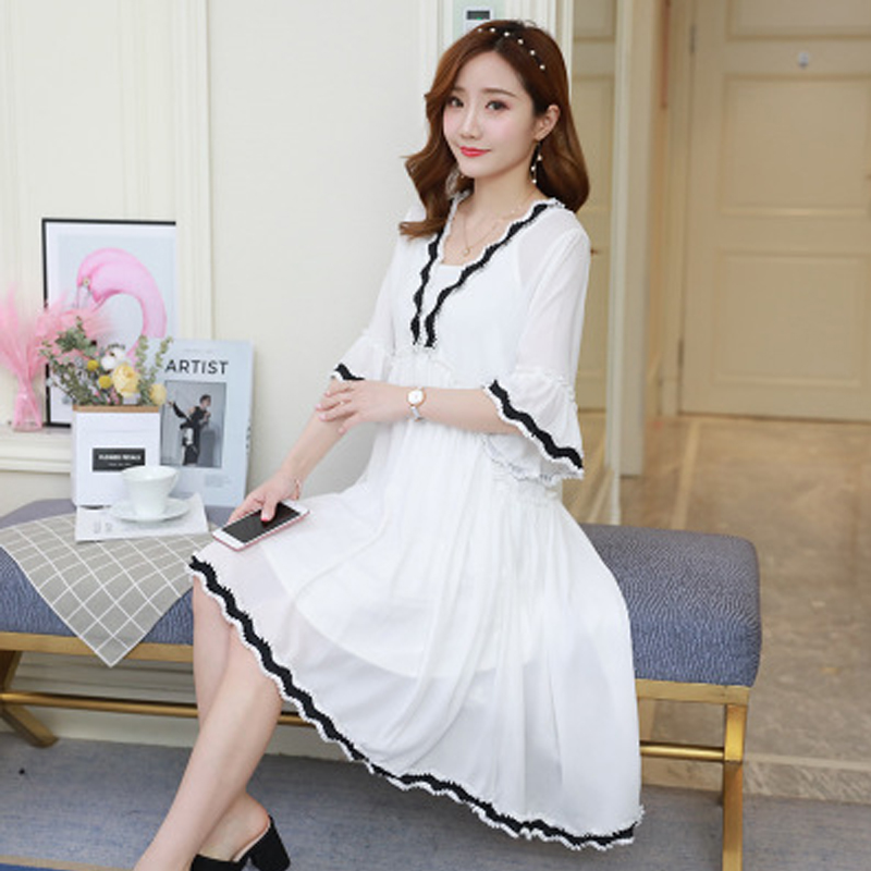 Women Dress Fashion Chiffon Pregnant Woman Dresses Plus-size Womems Clothes High Quality Loose Horn Sleeve Maternity Clothes