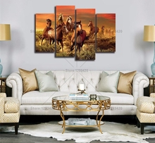 5D diy Diamond Painting Running Horses Modern Wall art Home Decorative 4pcs embroidery Cross Stitch mosaic