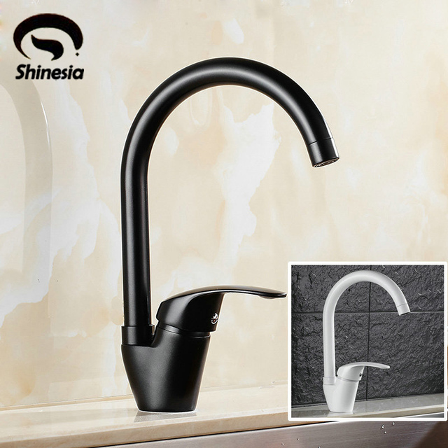 Black And White Color Bathroom Sink Faucet Single Handle Mixer Tap