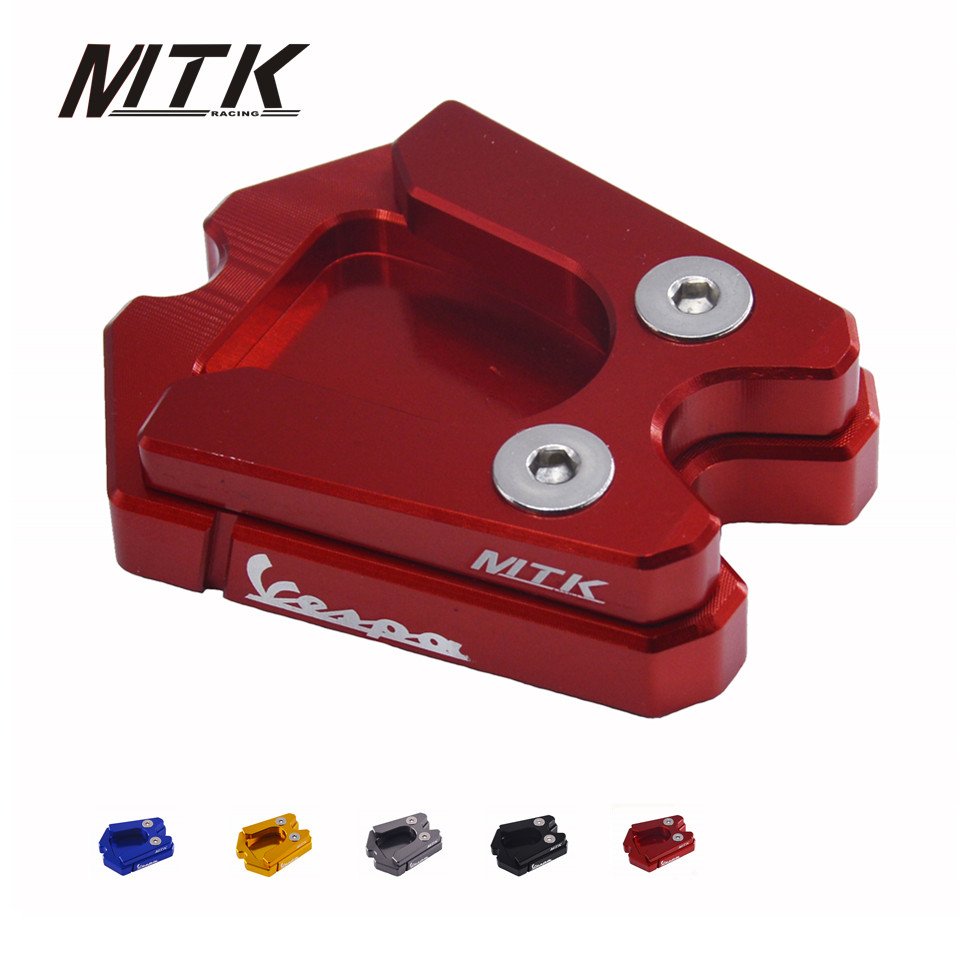 MTKRACING Motorcycle For Vespa GTS 3Vie GTV 3Vie CNC Kickstand Extension Plate Foot Side Stand Enlarge Pad river old satellite vespa 3 2 гр код цв 12
