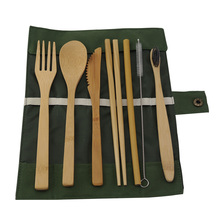 Camping Bamboo Cutlery 8 Pieces Bamboo Flatware Set Includes Fork Spoon Knife Chopsticks Straw Straw Cleaning Brush