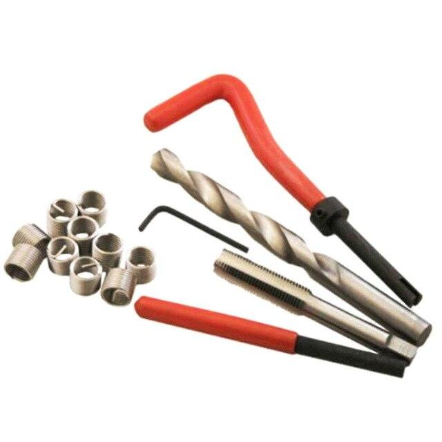 Metrik diş tamir takma takımı araba Pro bobin matkap aleti M4 M5 M6 M8 M10 M12 M14 için Helicoil iplik tamir kiti kaba kazayağı