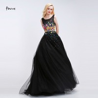 08Vestido De Festa Sexy Tank Sleeveless Lace Tulle Women Long Black Evening Dress With Appliques Ball