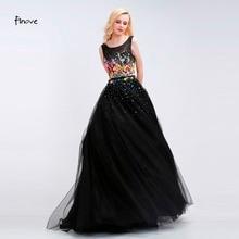 Women Long Black Evening Dress 2017 Sexy Tank Sleeveless Lace Tulle  Appliques Ball Gown Formal Prom Dress Vestido De Festa