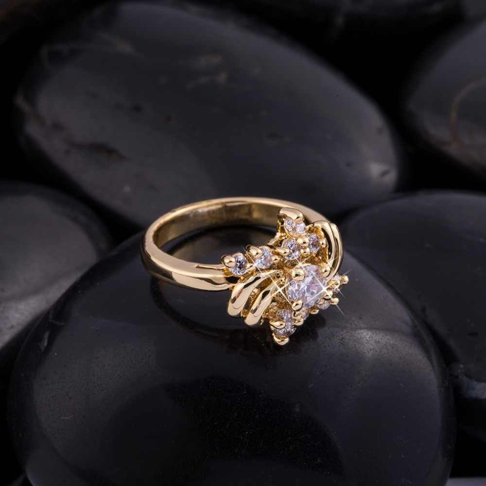 หรูหรา AAA Cubic Zirconia แหวนสำหรับผู้หญิงงานแต่งงานสาวแฟชั่นคริสตัลออสเตรียวงคลาสสิกเครื่องประดับขายส่ง