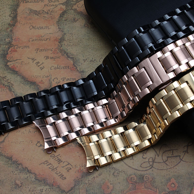 2016 New Fashion Replacement Stainless Steel Solid Links Watch Band Strap Bracelet Curved End 18 19 20 21 22 mm Watchband strap