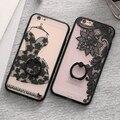 Kisscase sexy lace flor mandala floral anel case para iphone 6 6 s mais case anel aperto tampa casos de telefone para o iphone 6 6 s conchas