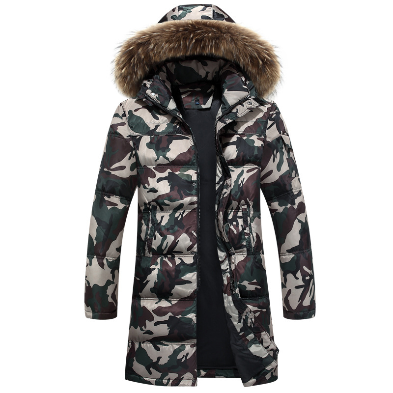 New mens winter warm down coat thicken camouflage down jacket outwear men 90% white duck down jackets camouflage green coats
