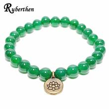 Ruberthen Trendy Handmade Beaded Bracelet Dark Green Aventurine Bead Jewelry Antique Brass Lotus Charm Gift Free Shipping