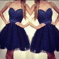 2016 nueva Royal Blue Ball Gown Short Prom vestidos novia cuentas de encaje de tul princesa Mini Grils vestidos Cocktail Party