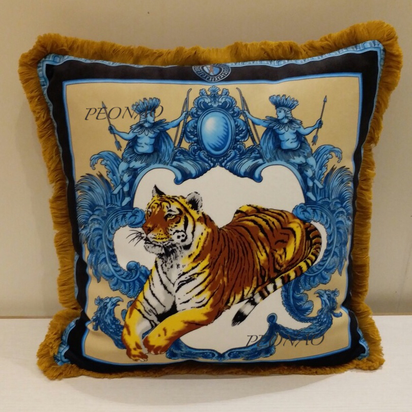 Square Cushion Covers with Tassels 50cm Animal Tiger King Cushions Case Only Sofa Home Living Room Decorative Pillowcases
