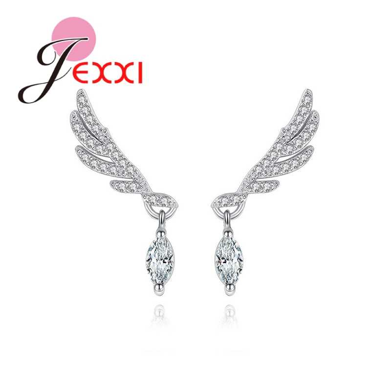 JEXXI Angel Wings Shape Stud Earrings 925 Sterling Sliver Clean Cubic Zircon High Quality Shiny Wemen Girl's Party Jewelry