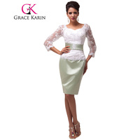 Grace Karin Short Mother Of The Bride Dresses With Sleeves Open Back Satin Lace Elegant Knee Length Formal Evening Party Dresses
