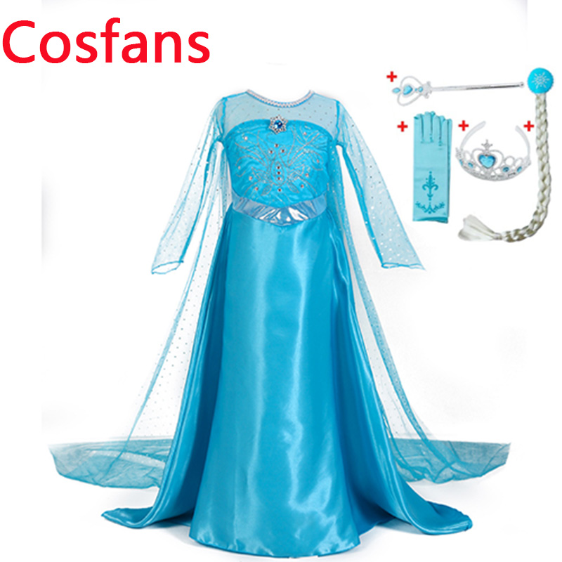 Hot Girls Princess Elsa Dress Costumes for kids Anna Snow Queen Costume Cosplay Dresses Clothes Children Party Dress Vestidos