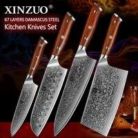 XINZUO 4 ชิ้นชุดมีดครัวชุด VG10 เหล็กดามัสกัสขนาดใหญ่ Cleaver มีดเชฟมีดสแตนเลสสตีลมีด Rosewood Handle