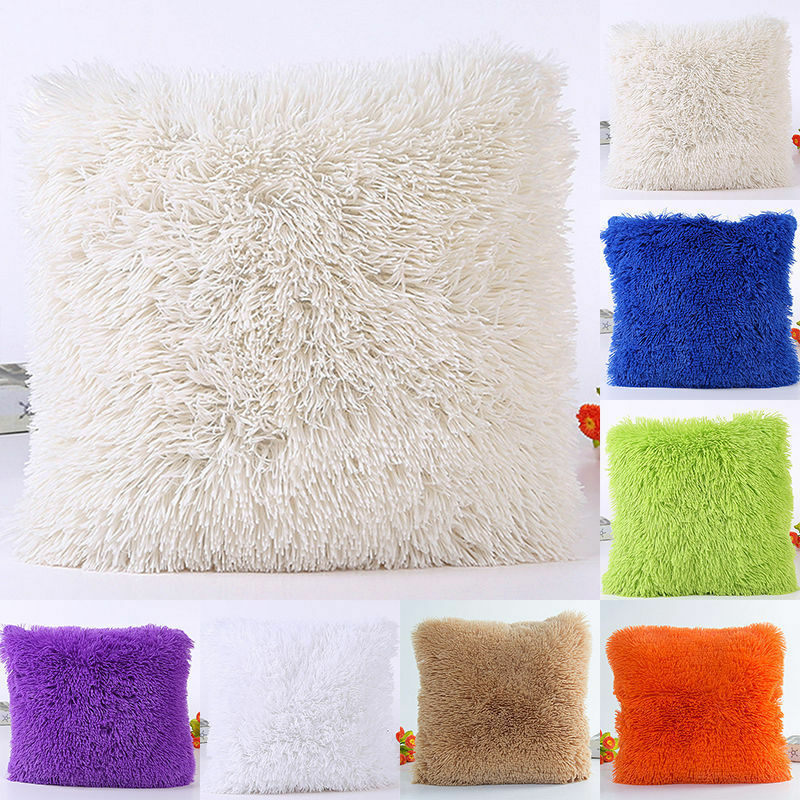 Plush Furry Cover Throw Solid Color Pillow Case Home Bed Room Multicolor Wholease
