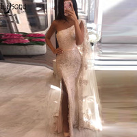 Robe de soiree 2019 One Shoulder Mermaid Prom Gowns Sexy Side Split Evening Party Dresses Lace Appliques Arabic Formal Dress