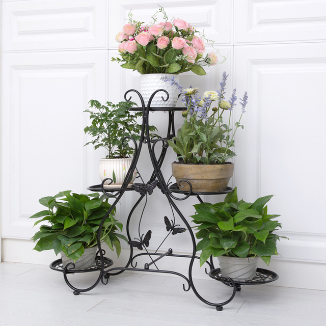 Clic Plant Stand Metal Flower Herbs Holder Garden Patio Shelves For Pot Rack