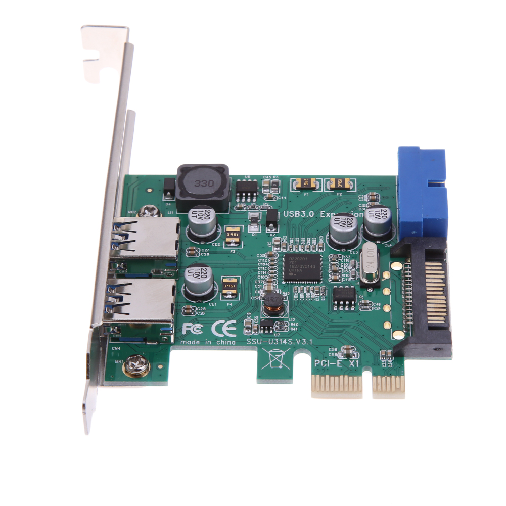 4 Ports USB 3.0 PCIe PCI Express Expansion Card 2 External Ports & 2 Internal 19Pin Header for PCI-E x1/x4/x8/x16 Computer PC купить в Москве 2019
