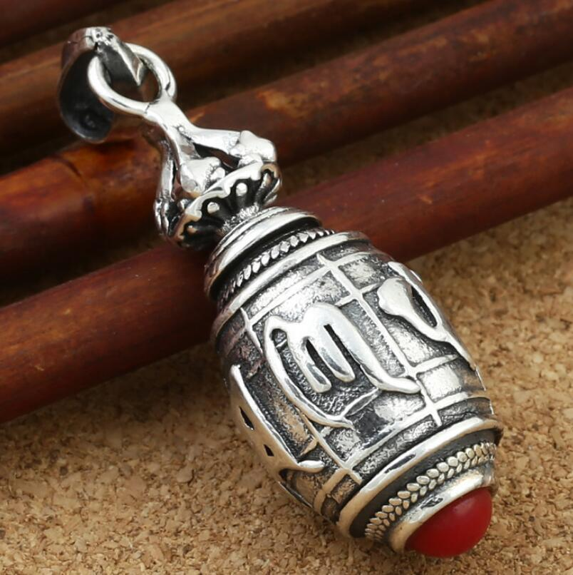 925 sterling silver jewelry six-word mantra mini wine barrel pendant (FGL)925 sterling silver jewelry six-word mantra mini wine barrel pendant (FGL)