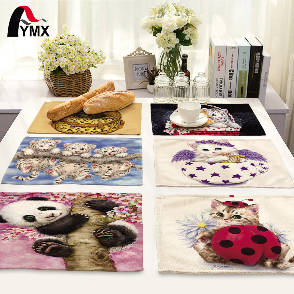 Cute Cartoon Creative Animal Printed Table Napkin For Wedding 42*32cm Set Bowl Dining Mats Kids Table Set Home Decoration