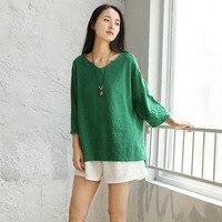 V-образным вырезом с коротким рукавом Свободные Повседневное Для женщин блузка рубашка сплошной белый зеленый розовый летний Рубашки для м...