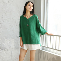 V Neck Short Sleeve Loose Casual Women Blouse Shirt Solid White Green Pink Summer Shirts Blouses