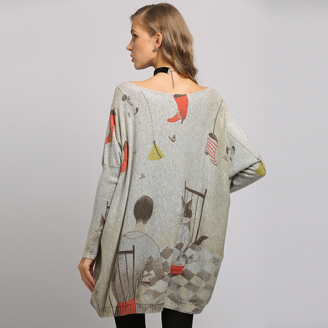 XIKOI  sweater dress Fashion Casual Home cat cartoon Print Oversize Long Batwing Sleeve Pullovers O-Neck Knitted Clothes 3