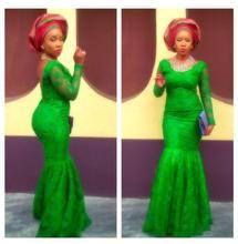 Vestido De Festa Ankara Stil Emerald Green Spitze 2017 Mode Afrikanische Damen Party Kleider Mermaid Long Sleeves Abendkleider