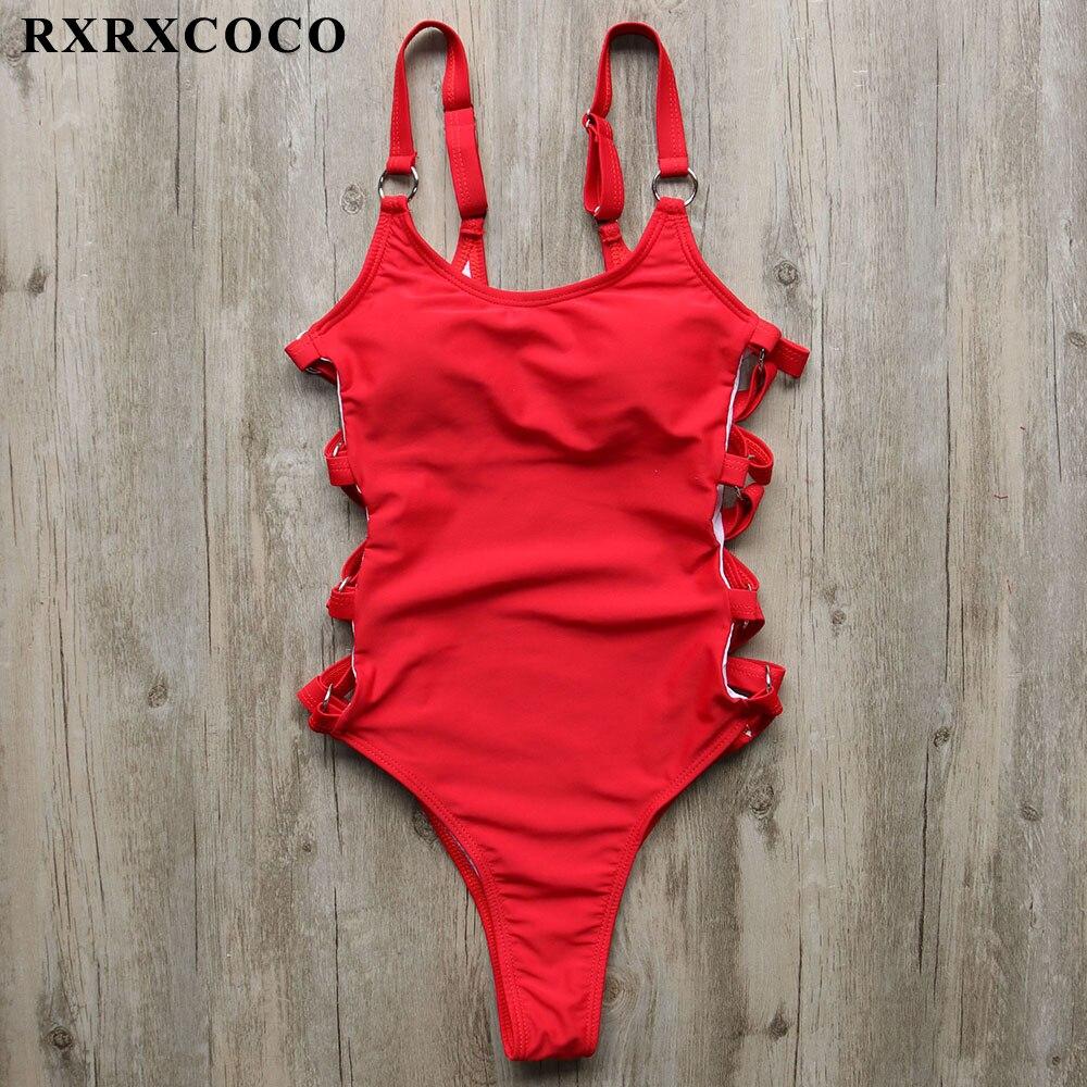 RXRXCOCO 2018 Maillot Une Pièce Femmes Sexy Taille Haute Maillot de Bain Dos Nu Évider Monokini Maillot de bain Beachwear Combinaisons