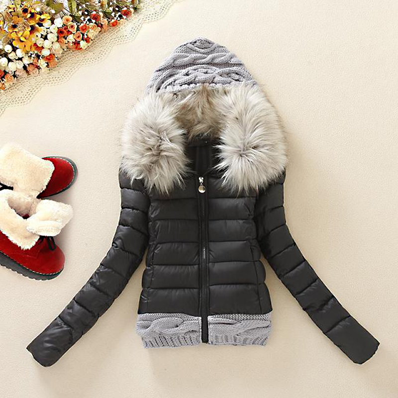 Short Coats & Jackets Slim Women   Parka   Winter Fur Collar Hooded Coat Female Knitting Autumn Warm Outwear Overcoat   Parkas   KJT354