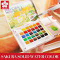 Sakura 18/24/30 Colors Watercolour Paint Box,Portable Solid Petit Watercolor Paint Set Outdoor, Art Drawing Painting Supplies