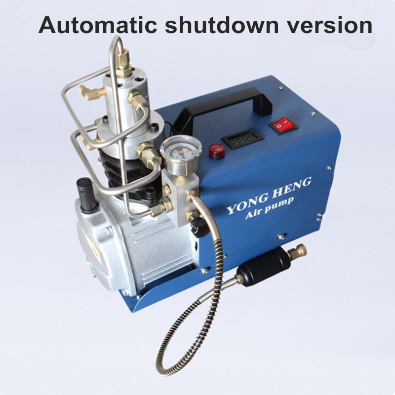 Auto Stop Air Compressor 30 MPA 4500 PSI 300Bar 220 V Electrical High Pressure PCP Rifle Refilling Air Pump Water Cooling Airgun
