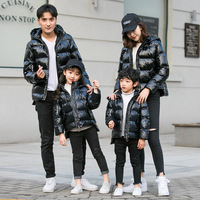 Family Matching Clothes Christmas outfits Winter Cotton Long Sleeve coats Mother dad Glossy hooded jackets Children Clothes