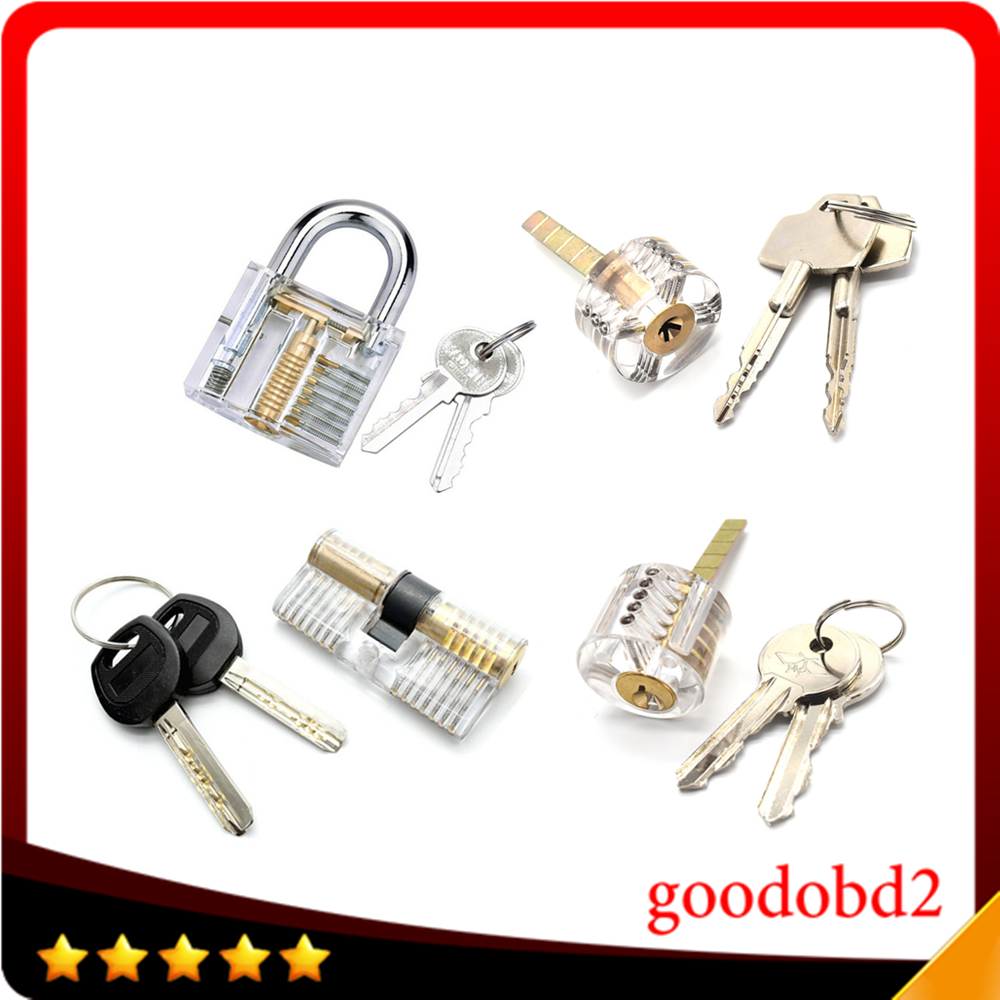 цена на 4pcs/set Cutaway Lock Transparent Training Skill Professional Visable Practice Padlock Lock Pick For Locksmith tools