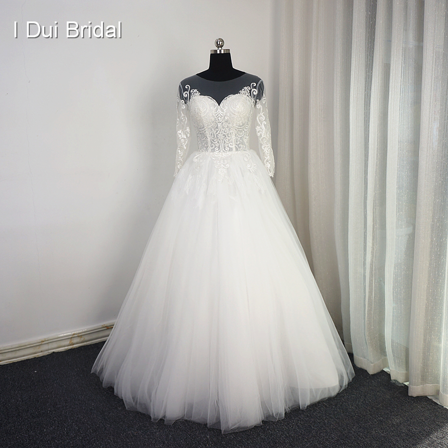 Three Quarter Sleeve Lace Appliqued Wedding Dresses Illusion Neckline High Quality Custom Size Bridal Gown