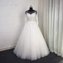 ثلاثة أرباع كم الدانتيل زين فساتين الزفاف الوهم العنق عالية الجودة حجم مخصص فستان زفاف
