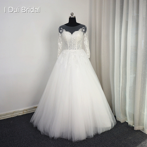 Image 1 - 3 分袖レースアップリケウェディングドレスイリュージョンネック高品質カスタムサイズ花嫁衣装