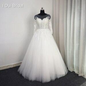 Image 1 - Tay Lửng Ren Appliqued Áo Váy Ảo Giác Cổ Chất Lượng Cao Kích Thước Tùy Chỉnh Áo Dài Cô Dâu