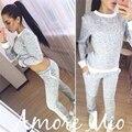 Outono Inverno 2016 causal Sólidos cinza mulheres fatos de treino conjuntos de duas peças (camisolas & calças slim) set moda terno Traje Para As Mulheres