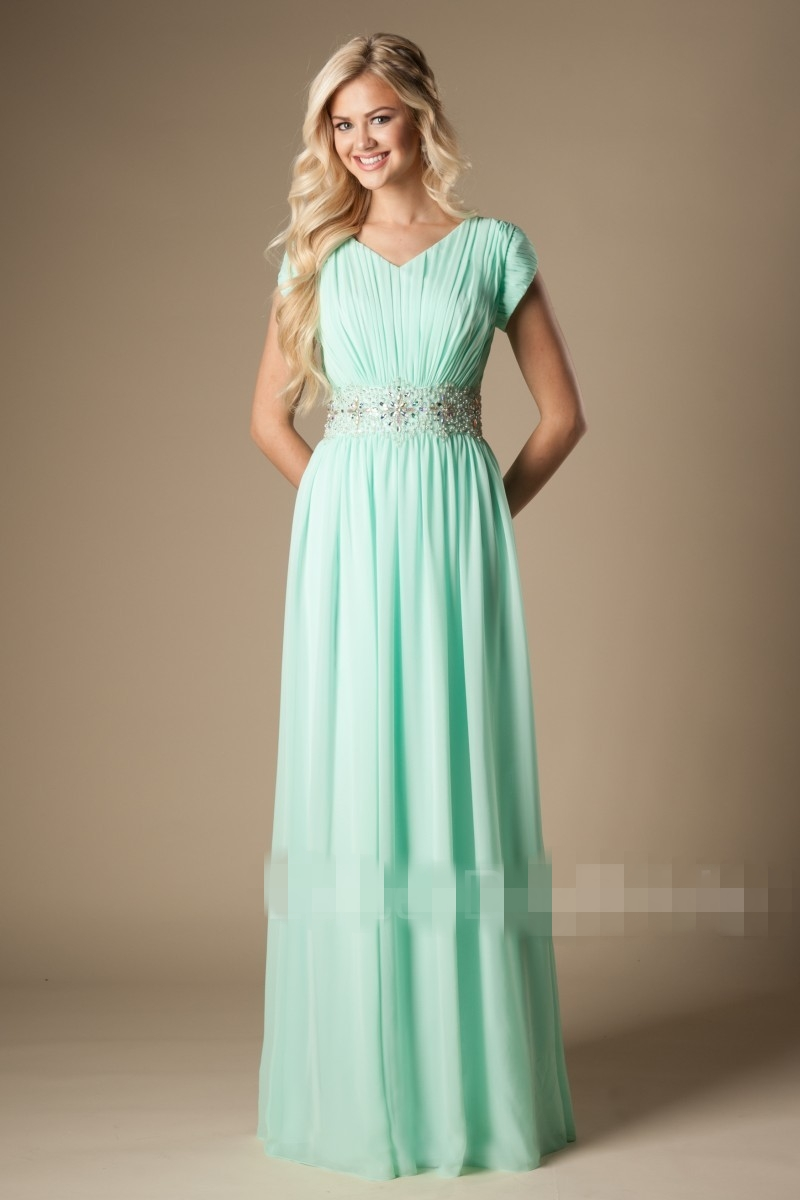 Mint Green Long Modest Bridesmaid Dresses With Cap Sleeves Beaded ...