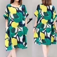 Plus Size 2017 New Summer Fashion Women dress Fat Fertilizer Increase Pocket Dresses Design And Color 6019