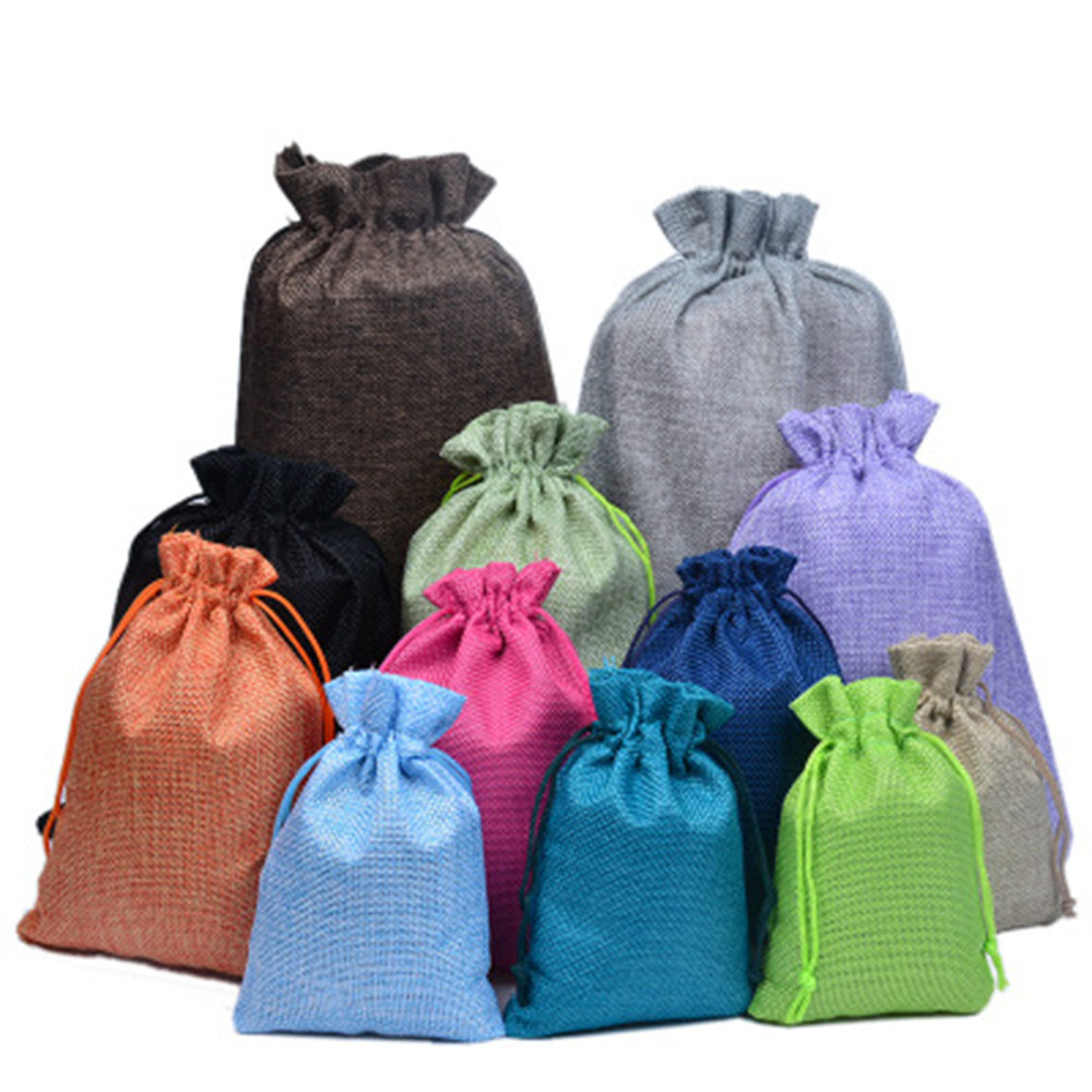 1Pcs Shopping Bag Colorful Imitation Linen Storage Package Bags Drawstring Bag Travel Women Cloth Bag Gift Pouch