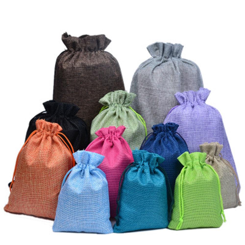 1Pcs Shopping Bag Colorful Imitation Linen Storage Package Bags Drawstring Bag Travel Women Cloth Bag Gift Pouch