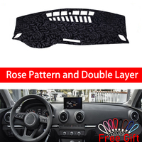 Rose Pattern For AUDI A3 S3 2014 2015 2016 2019 Dashboard Cover Car Stickers Car Decoration Car Accessories Interior Car Decals