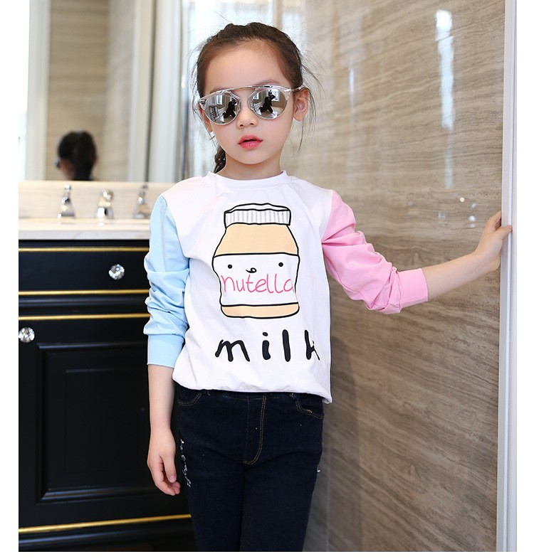 little teenage girls t-shirt character girls tops blue white pink patchwork tees girl tshirt 2016 spring autumn kids clothes  6 7 8 9 10 11 12 13 14 15 16 years old big little teenage girls long sleeve t-shirts children clothing (4)