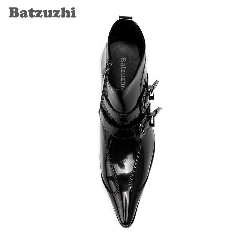 Preto Japonês Couro 6 Boots outono Inverno Botas Moto Saltos Homens Batzuzhi De Estilo Moda 5 Curtas Mens Cm Ankle SXvqWPq7dH