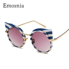 Emosnia New Stripe Cateye Sunglass 2018 Fashion Round Brands Designer Sunglasses Women Zebra Metal Frame Vintage Oculos De Sol