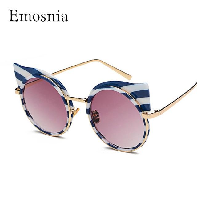 Emosnia Nova Cateye Óculos De Sol 2018 Marcas de Moda Rodada Óculos Escuros  De Grife Mulheres db54099f2a