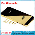 Brand new HQ full gold plated gold0+rose gold+sliver mirror back metal cover housing for iphone 5 5s free shipping